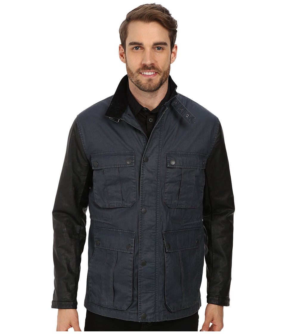 DKNY Jeans - Waxed Cotton Jacket w/ Faux Leather Sleeves (Midnight Navy) Men's Coat