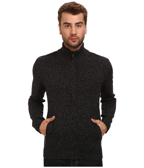 DKNY Jeans - L/S Marl Jersey Full Zip Mock Neck Sweater w/ Nylon Trim (Black) Men's Sweater