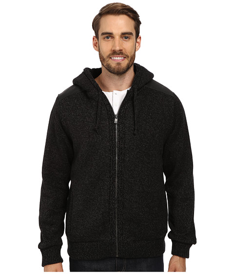 DKNY Jeans - L/S Sherpa Lined Full Zip Hooded Sweater (Black) Men