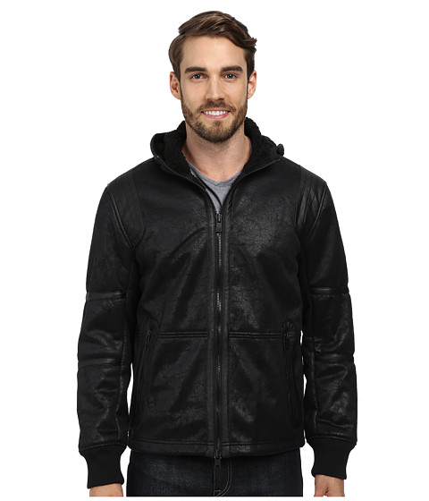 DKNY Jeans - Faux Shearling Hooded Jacket (Black) Men