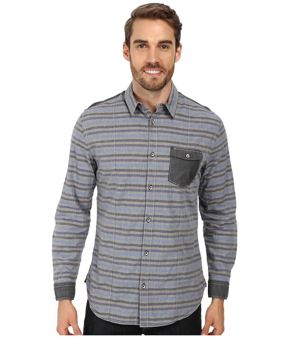 DKNY Jeans - L/S Y/D Heather Stripe Shirt w/ Enzyme Wash (Blue) Men's Clothing