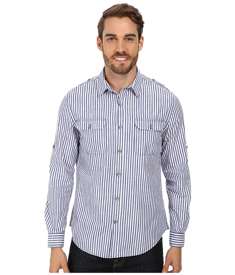 DKNY Jeans - L/S Roll Tab Y/D Slub Stripe Shirt w/ Garment Wash (Blue) Men's Long Sleeve Button Up