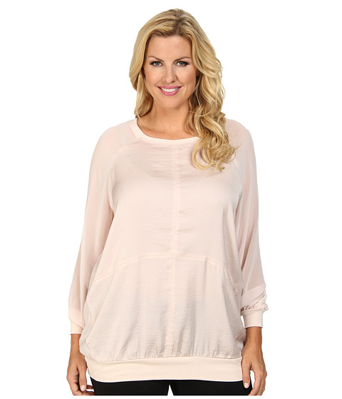 DKNY Jeans - Plus Size Hammered Satin Mixed Media Sweatshirt (Soft Blush) Women