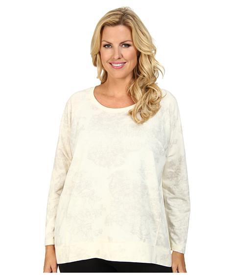 DKNY Jeans - Plus Size Lace Print Rhinestud Sweatshirt (Polar Cream) Women