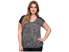 DKNY Jeans Plus Size Marled Sweater Knit Cross-Over Tee w/ Lace