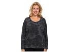 DKNY Jeans Plus Size Lace Print Burnout Fleece Rhinestud Sweatshirt (Noir)