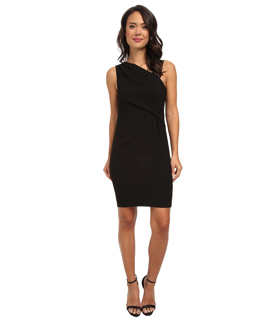 DKNYC - Gold Embellished Shoulder Draped Dress (Black) Women's Dress