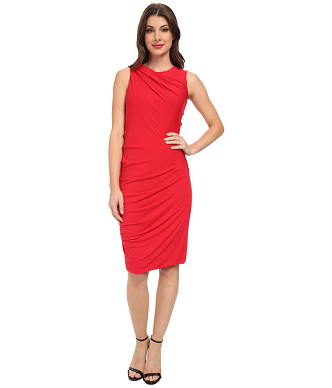 DKNYC - Sleeveless Draped Dress (Crimson) Women's Dress
