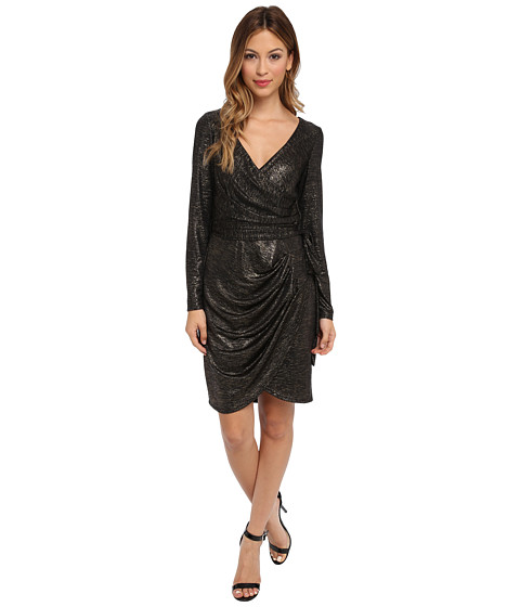ABS Allen Schwartz - Metallic Jersey Pleated Wrap Dress (Black/Gold) Women's Dress