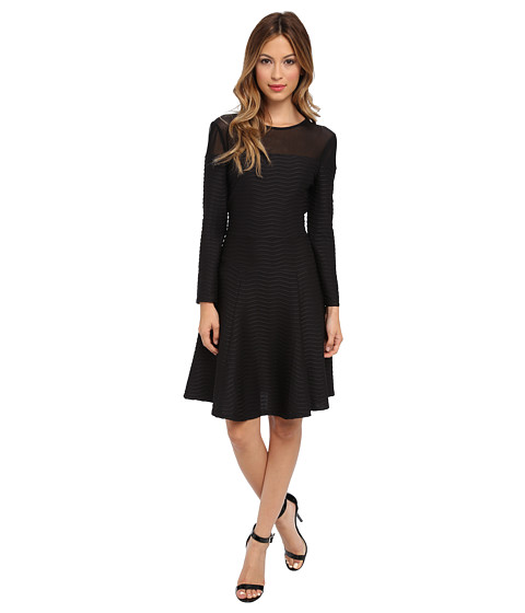 ABS Allen Schwartz - Knit Wavy Stripe Fit and Flare Long Sleeve Dress w/ Mesh Yoke (Black) Women's Dress