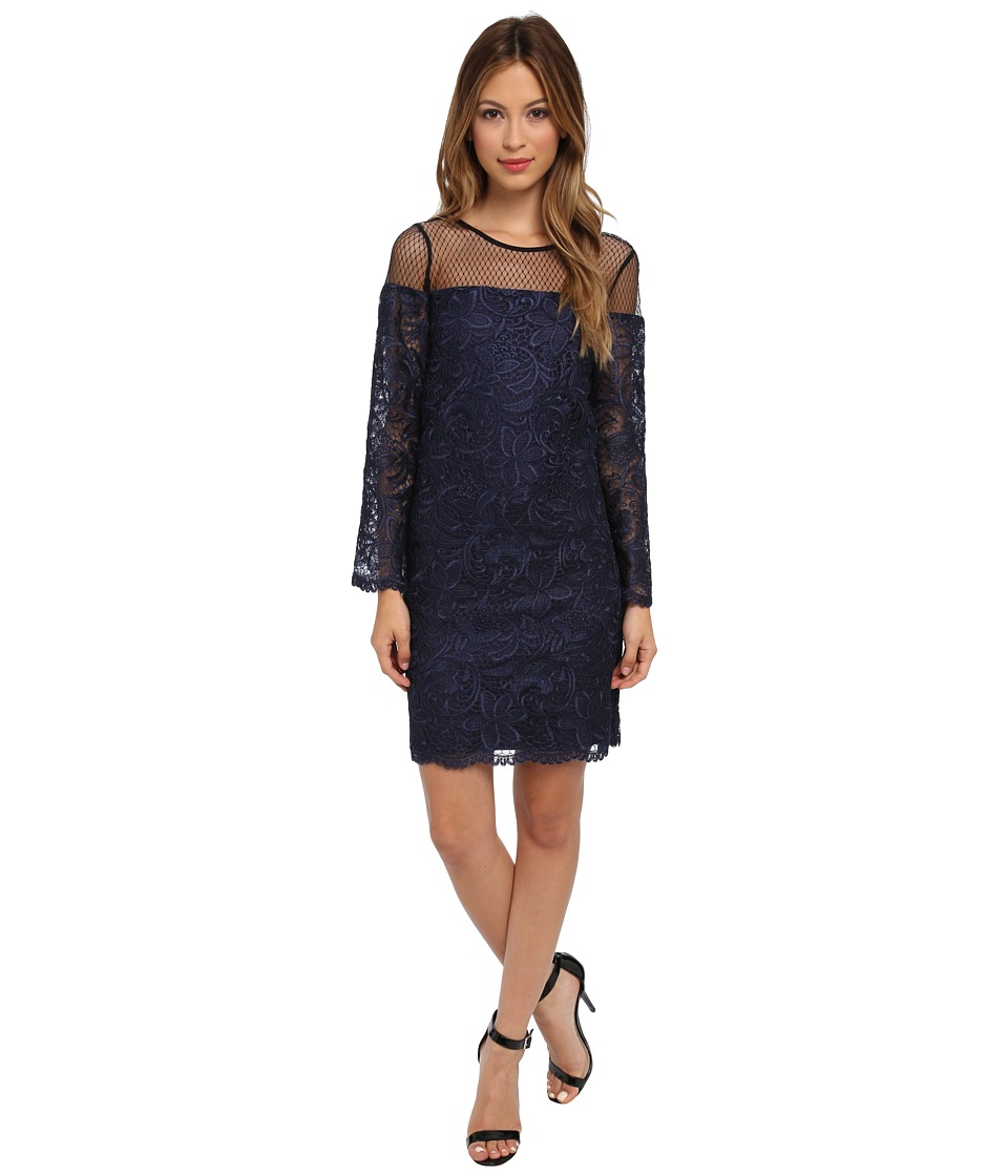 ABS Allen Schwartz - Guipure Lace Shift with Point D'esprit Yoke Detail (Royal) Women's Dress