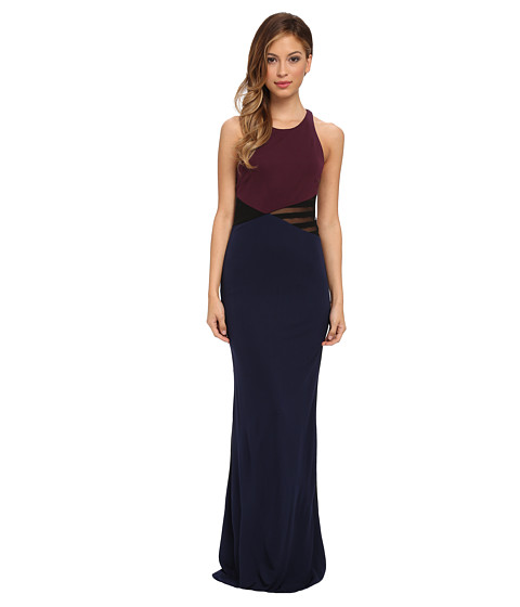 ABS Allen Schwartz - Color Block Gown with Cross Back Detail (Midnight) Women