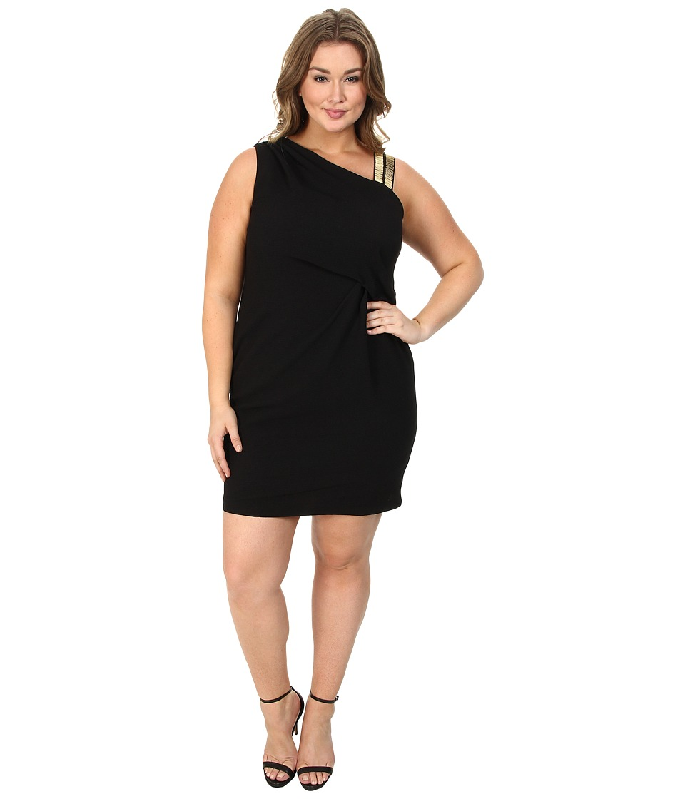 DKNYC - Plus Size Gold Embellished Shoulder Draped Dress (Black) Women's Dress