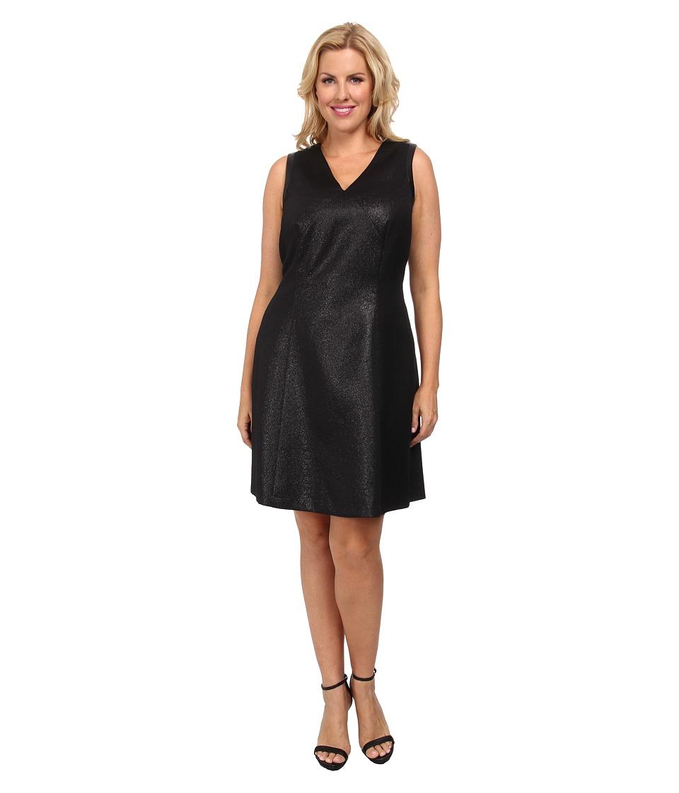 DKNYC - Plus Size Ponte Pieced Flare Dress (Black) Women's Dress