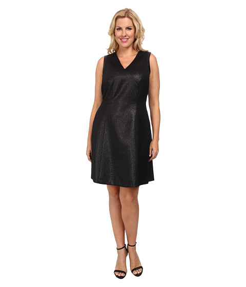 DKNYC - Plus Size Ponte Pieced Flare Dress (Black) Women
