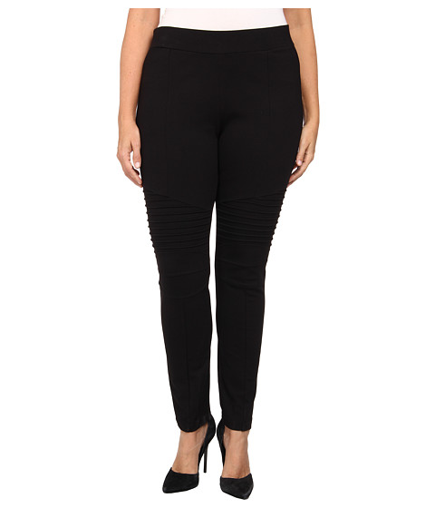 DKNYC - Plus Size Puckered Motto Legging (Black) Women's Casual Pants