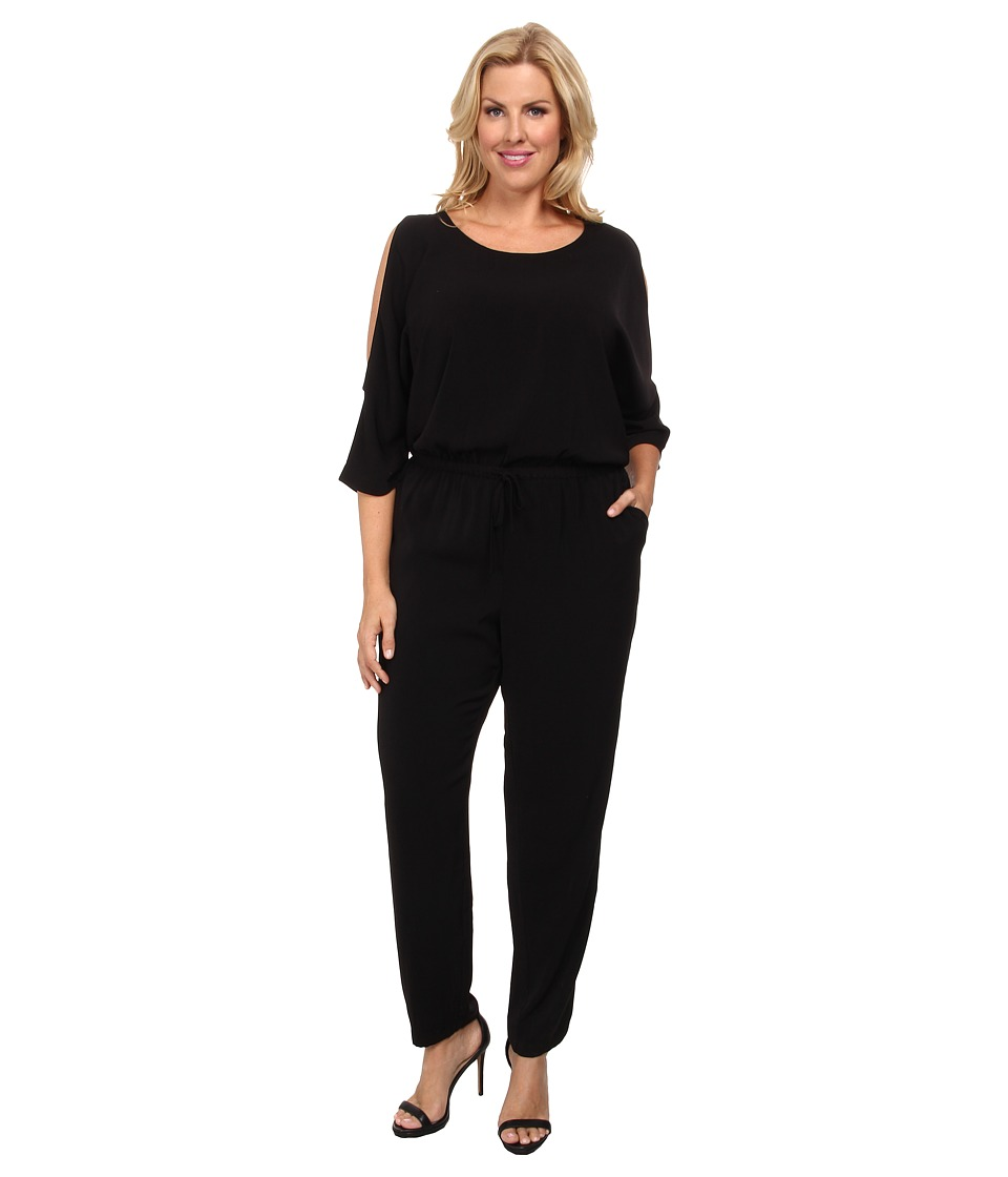 DKNYC - Plus Size Cold Shoulder Jumpsuit (Black) Women's Jumpsuit & Rompers One Piece