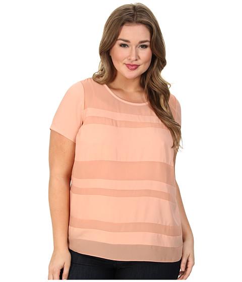 DKNYC - Plus Size Chiffon Striped Blouse (Pink Sand) Women