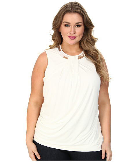 DKNYC - Plus Size S/S Embellished Neck Drape Front Top (Ivory) Women