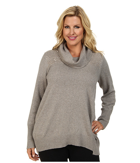 DKNYC - Plus Size Cowl Neck Studded Yoke Pullover (Mink Heather) Women