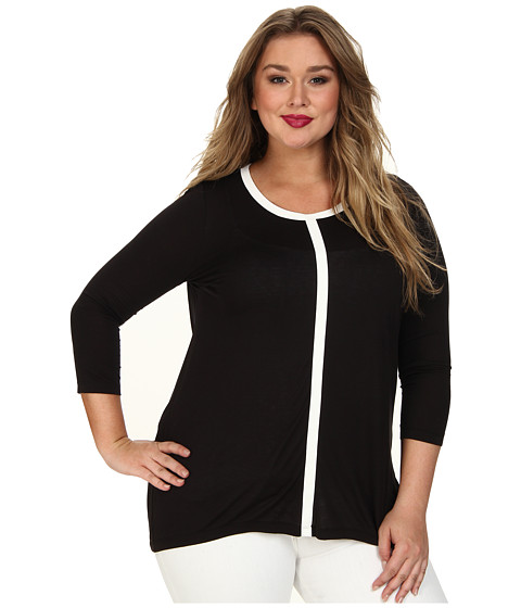 DKNYC - Plus Size Small Scale Snake Faux Leather Pieced Top (Black) Women's Long Sleeve Pullover
