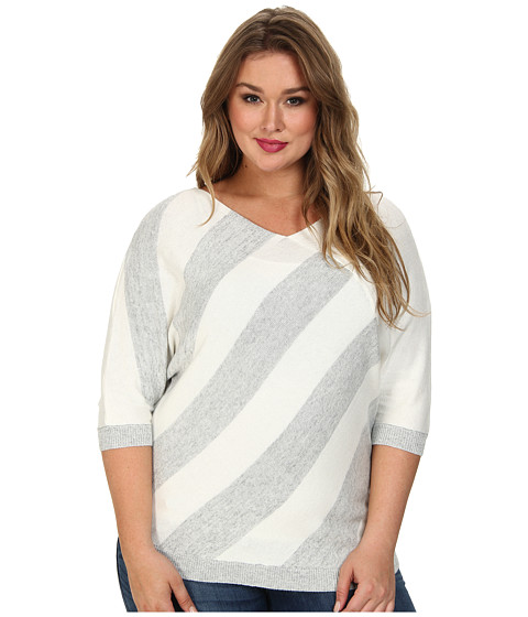 DKNYC - Plus Size Triangle Striped Pullover (Ivory) Women