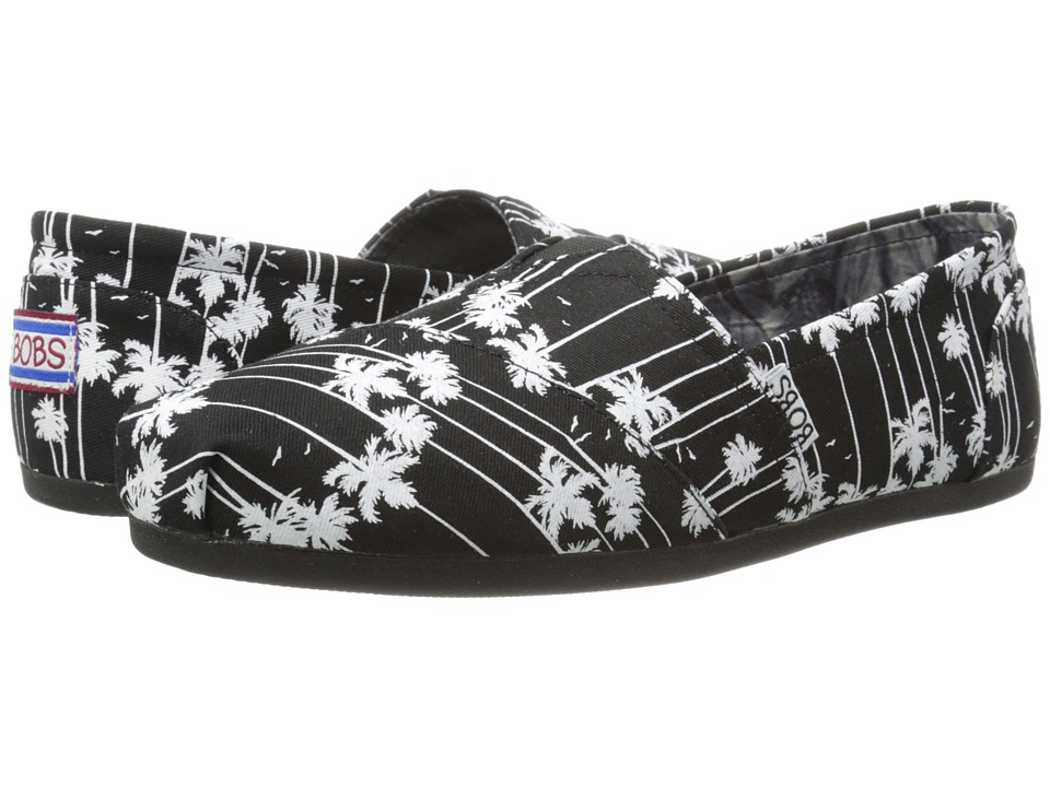 BOBS from SKECHERS - Bobs Plush (Black/White) Women's Flat Shoes