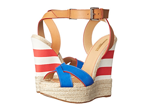 DSQUARED2 - Striped Espadrille Wedge (Cuoio Blue) Women's Shoes