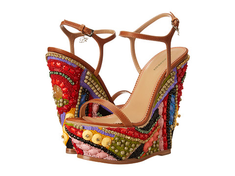 DSQUARED2 - Jeweled Wedge Sandal (Cuoio) Women's Shoes