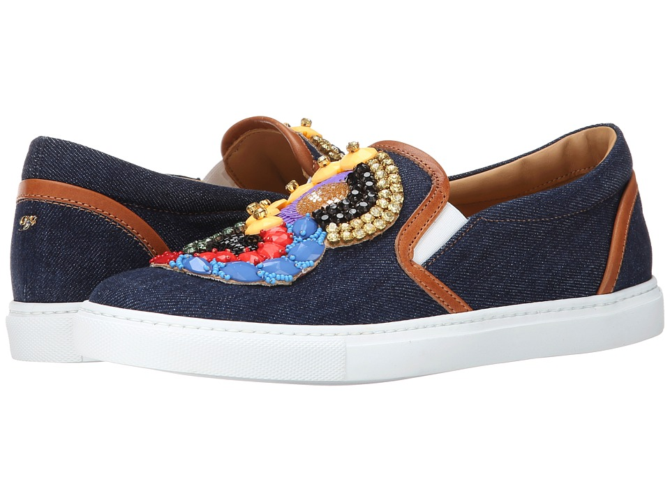 DSQUARED2 - Embroidered Slip-on Sneaker (Blue) Women's Slip on Shoes