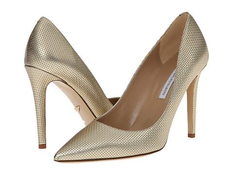 Diane von Furstenberg - Bethany (Matte Gold Metallic Grid) High Heels