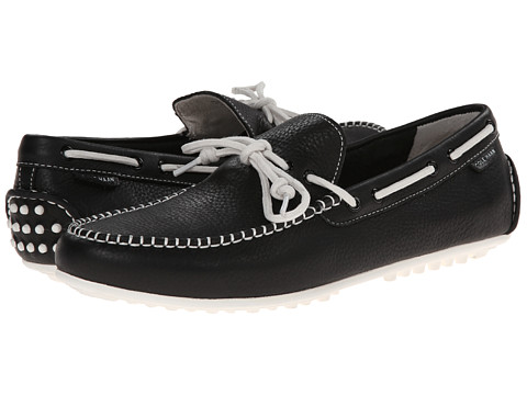 Cole Haan - Grant Escape (Black Leather/White) Men's Slip on Shoes