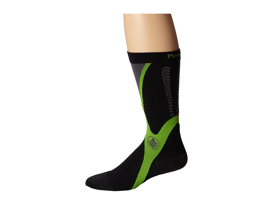 Powerstep - Recovery Compression Socks (Black/Green) Men's Knee High Socks Shoes