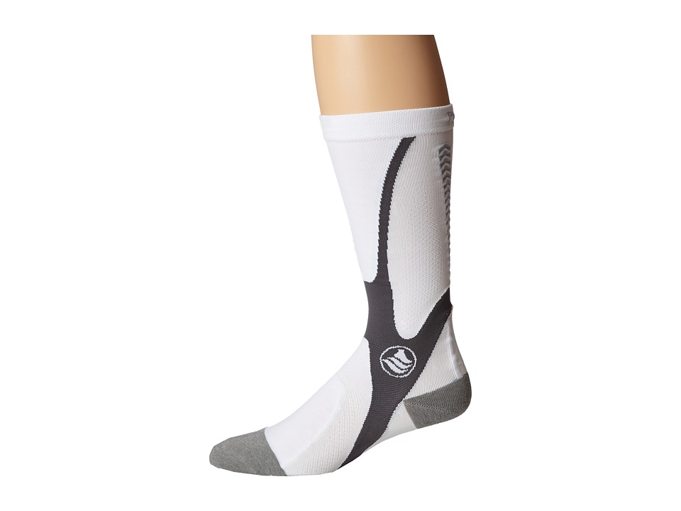 Powerstep - Recovery Compression Socks (White/Gray) Men's Knee High Socks Shoes