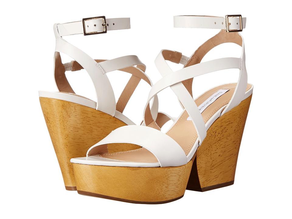 Diane von Furstenberg - Lamille (White Calf) Women's Wedge Shoes
