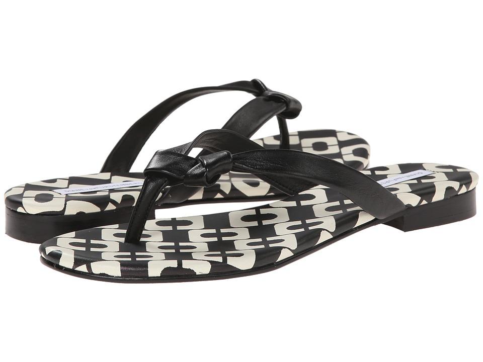 Diane von Furstenberg - Melanie (Black Nappa Lin/Black/White Chainlink Nappa) Women's Toe Open Shoes