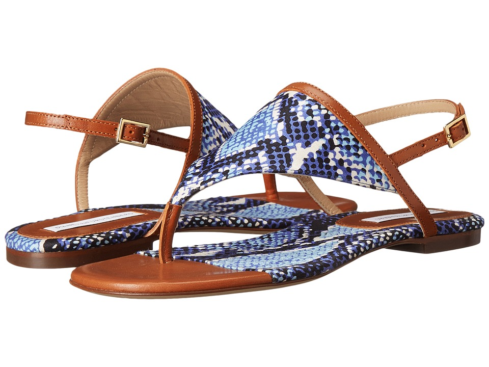 Diane von Furstenberg - Myrna (Brandy Vacchetta/Blue Multi Python Print Fabric) Women's Toe Open Shoes