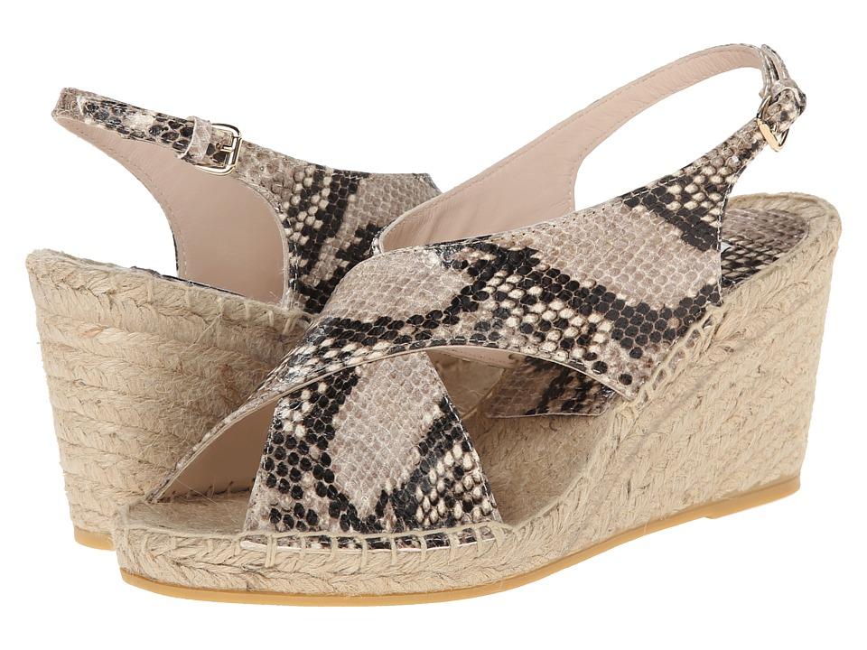 Diane von Furstenberg Sylvie Beige Snake Print Womens Wedge Shoes