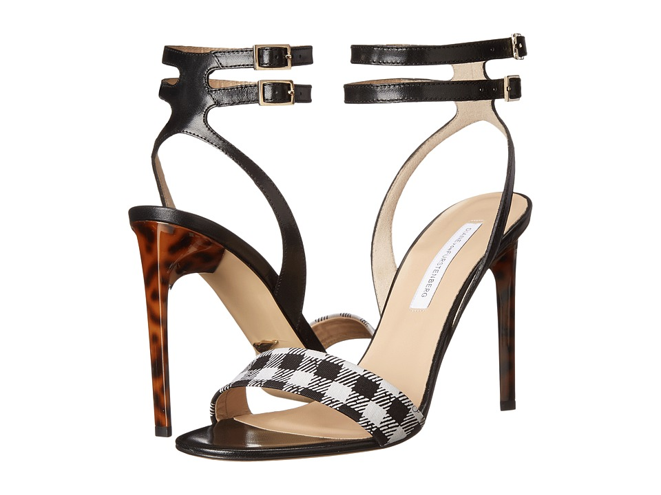 Diane von Furstenberg Vera (Black/White Small Gingham/Black Calf) High Heels