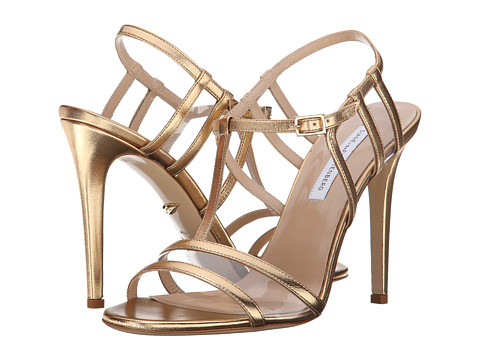 Diane von Furstenberg - Viola Too (Gold Metallic Nappa/Clear PVC) Women's Toe Open Shoes