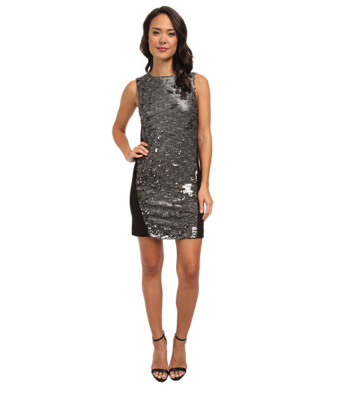 DKNYC - Textured Sequins w/ Ponte Back Dress (Mink) Women