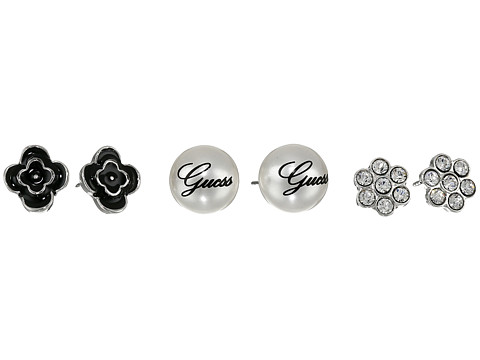 GUESS - Trio Flower/Stud Ball Earring (Silver) Earring