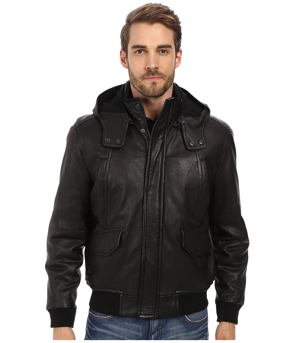 Andrew Marc x Richard Chai - Jaiden Italian Double Washed Hooded Leather Jacket (Black) Men's Coat