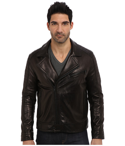 Andrew Marc x Richard Chai - Brayden Italian Luxe Lamb Asymmetrical Moto Jacket (Black) Men's Coat