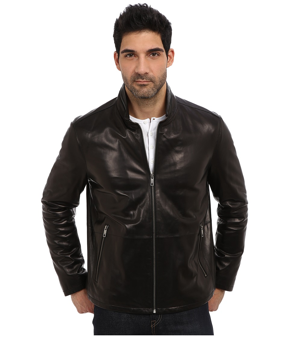 Andrew Marc x Richard Chai - Garnett Glove Leather Lightweight Stand Collar Jacket (Black) Men's Coat