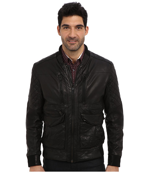 Andrew Marc x Richard Chai - Wade Waxy Washed Lamb Zip Moto (Black) Men's Coat