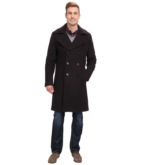 Andrew Marc x Richard Chai - Ivan Italian Pressed Self Bonded Wool Elongated Double Breasted Trench (Peat) Men's Coat