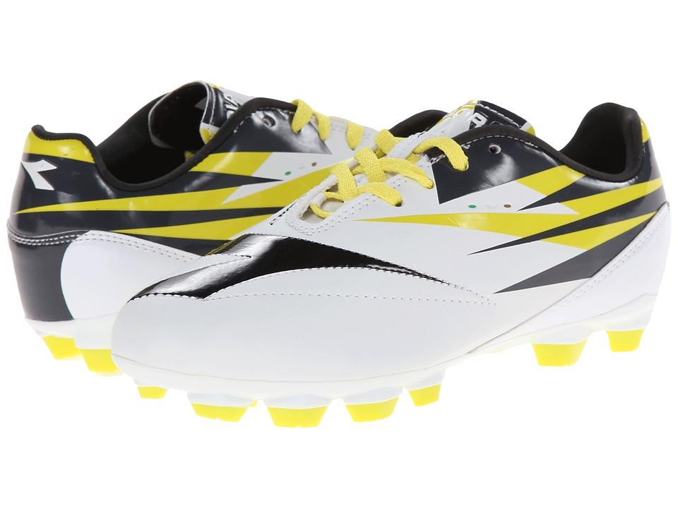 Diadora Kids - DD NA 2 R LPU Jr Soccer (Little Kid/Big Kid) (White/Black/Fluo Grey) Kids Shoes