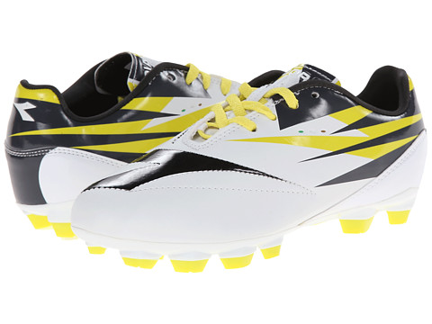 Diadora Kids - DD NA 2 R LPU Jr Soccer (Little Kid/Big Kid) (White/Black/Fluo Grey) Kids Shoes