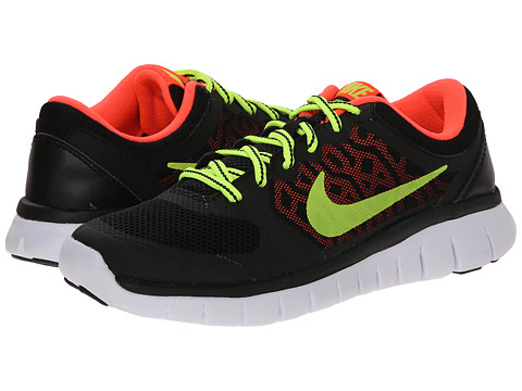 Nike Kids - Flex 2015 Run (Big Kid) (Black/Hot Lava/White/Volt) Boys Shoes